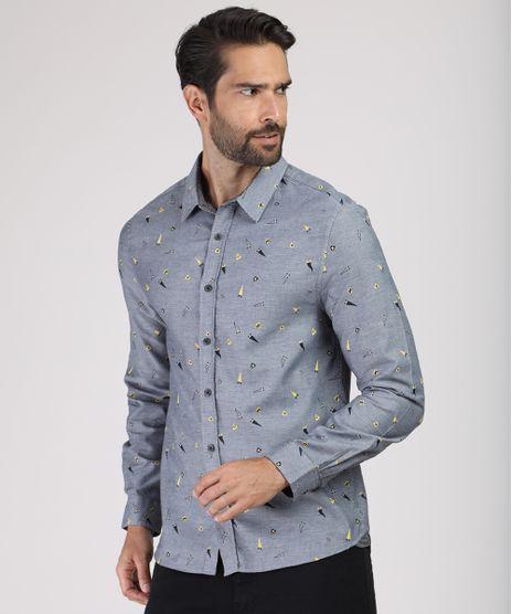 Camisa-Masculina-Comfort-Estampada-Mini-Print-de-Bandeiras-Manga-Longa-Cinza-Mescla-9812223-Cinza_Mescla_1