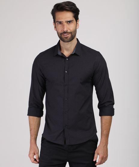 Camisa-Masculina-Slim-Estampada-Mini-Print-Manga-Longa-Preta-9817471-Preto_1
