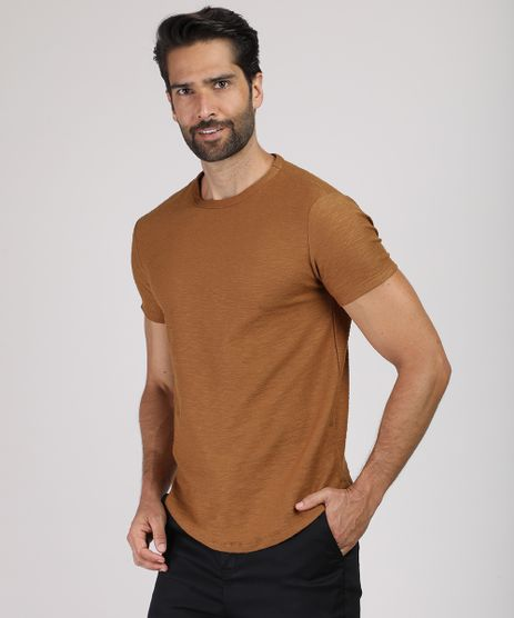 Camiseta-Masculina-Slim-Flame-Manga-Curta-Gola-Careca--Caramelo-9480139-Caramelo_1