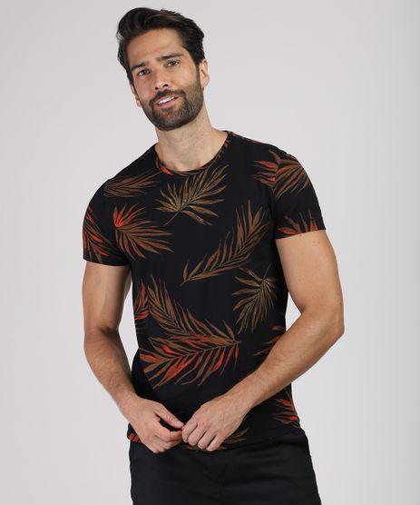 Camiseta-Masculina-Slim-Estampada-de-Folhagem-Manga-Curta-Gola-Careca-Preta-9867724-Preto_1