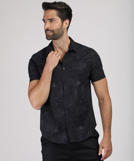 Camisa-Masculina-Slim-Estampada-Floral-Manga-Curta-Preta-9817476-Preto_1