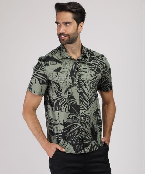 Camisa-Masculina-Tradicional-Estampada-de-Folhagem-Manga-Curta-Preta-9657169-Preto_1