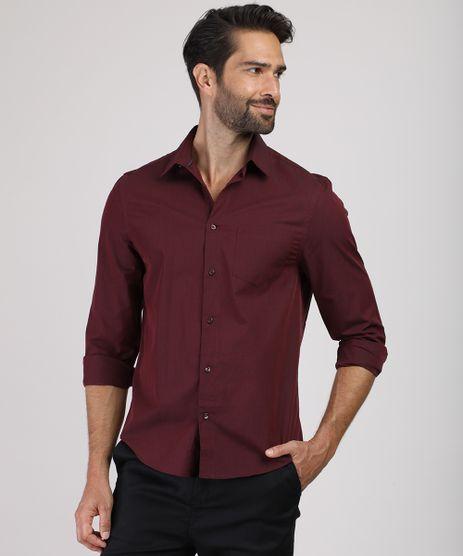 Camisa-Masculina-Comfort-com-Bolso-Manga-Longa-Vinho-8826559-Vinho_1_1