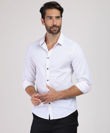 Camisa-Masculina-Slim-Estampada-Mini-Print-Manga-Longa-Branca-9817469-Branco_1