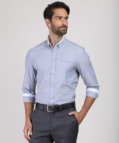 Camisa-Masculina-Comfort-Estampada-Mini-Print-com-Bolso-Manga-Longa-Azul-9831767-Azul_1
