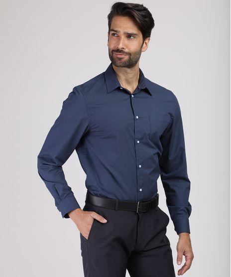 Camisa-Social-Masculina-Comfort-Estampada-Mini-Print-com-Bolso-Manga-Longa-Azul-Marinho-9831776-Azul_Marinho_1