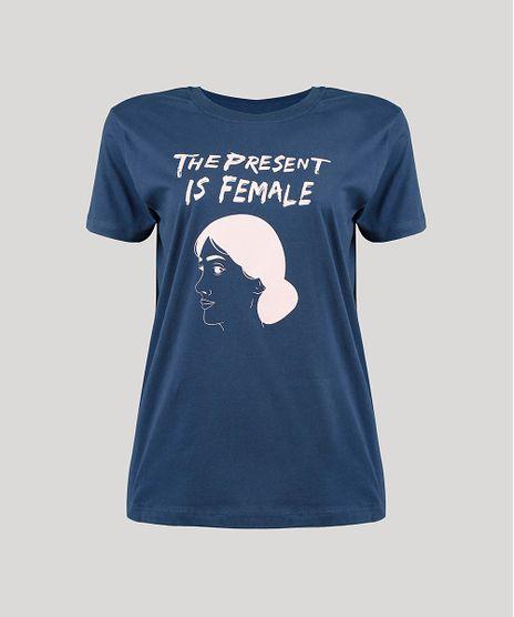 T-Shirt-Feminina-Mindset--The-Present-is-Female--Manga-Curta-Decote-Redondo-Azul-Marinho-9946221-Azul_Marinho_1