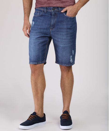Bermuda-Jeans-Masculina-Slim-com-Rasgos-Azul-Escuro-9771349-Azul_Escuro_1
