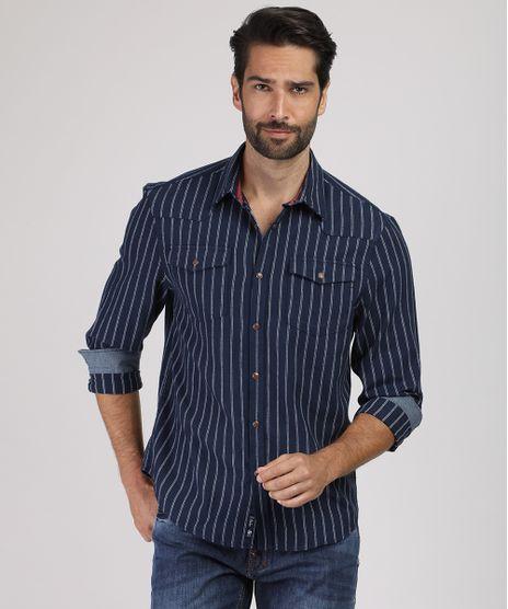 Camisa-Masculina-Comfort-Listrada-em-Flanela-com-Bolso-Manga-Longa-Azul-Marinho-9831520-Azul_Marinho_1