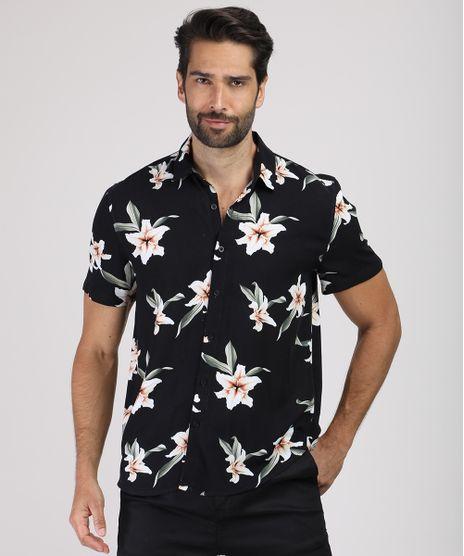 Camisa-Masculina-Tradicional-Estampada-Floral-Manga-Curta-Preta-9921266-Preto_1