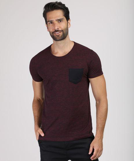 Camiseta-Masculina-Slim-Estampada-com-Bolso-Manga-Curta-Gola-Careca-Vinho-9592980-Vinho_1