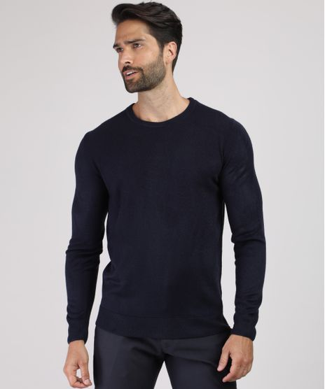 Sueter-Masculino-em-Trico-Gola-Careca-Azul-Escuro-9786700-Azul_Escuro_1