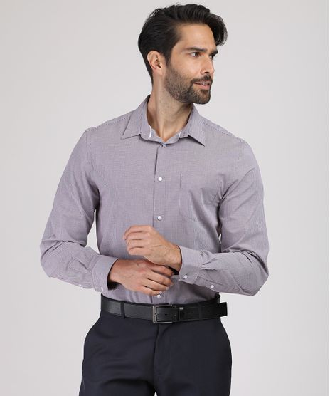 Camisa-Masculina-Comfort-Estampada-Xadrez-Manga-Longa-com-Bolso-Vinho-9831770-Vinho_1