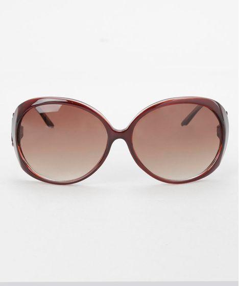Óculos de Sol Redondo Feminino Oneself Marrom - cea e614b56639