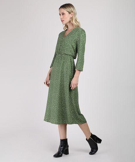 Vestido-Feminino-Midi-Estampado-de-Poa-Manga-3-4-Verde-9892069-Verde_1