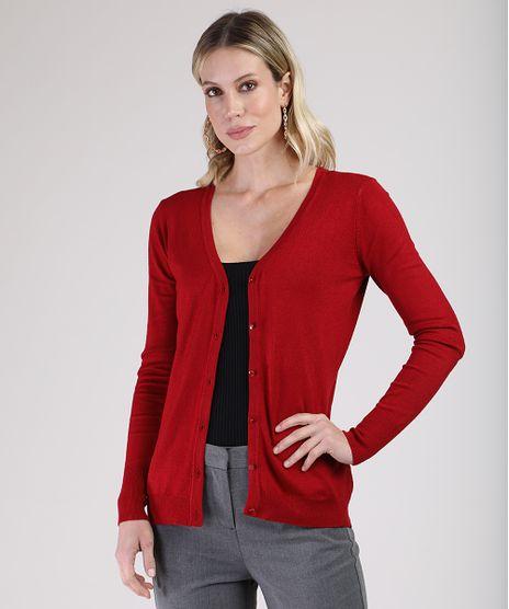 Cardigan-Feminino-Basico-em-Trico-Decote-V-Vermelho-Escuro-9811049-Vermelho_Escuro_1