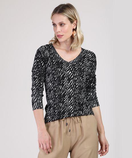 Sueter-Feminino-Estampado-Animal-Print-Zebra-em-Trico-Decote-V-Preto-9792718-Preto_1
