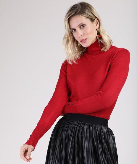 Sueter-Feminino-Basico-em-Trico-com-Botoes-Gola-Alta-Vermelho-9804205-Vermelho_1