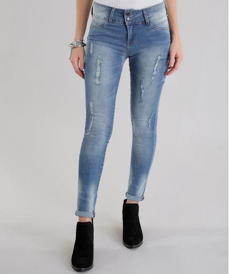 Calça Jeans Super Skinny Destroyed em Algodão + Sustentável Azul Médio - cea b945dcc7ec9