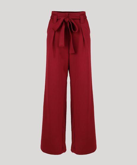 Calca-Feminina-Mindset-Pantalona-Cintura-Super-Alta-com-Faixa-para-Amarrar-Vinho-9949310-Vinho_1