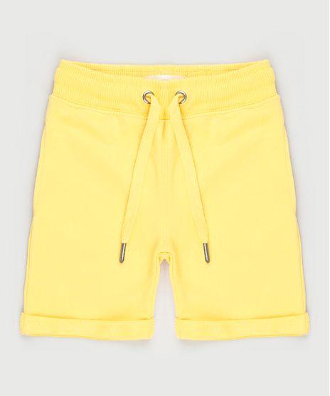 Bermuda-Infantil-em-Moletom-com-Cordao-e-Barra-Dobrada-Amarela-9791583-Amarelo_1