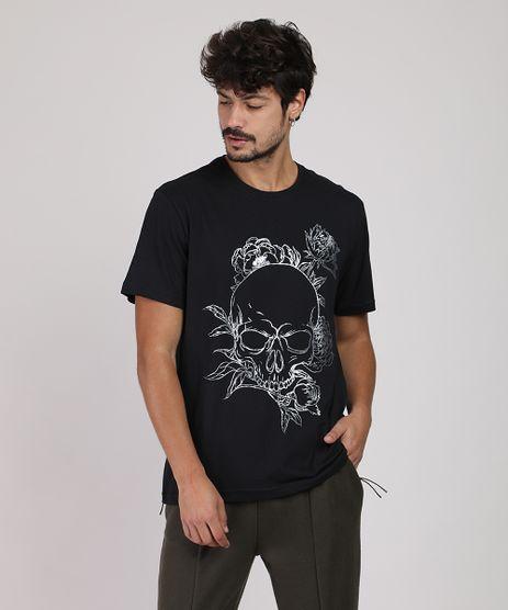 Camiseta-Masculina-Caveira-com-Flores-Manga-Curta-Gola-Careca-Preta-9948674-Preto_1