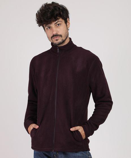 Blusao-Masculino-Basico-em-Fleece-com-Bolsos-Marrom-Escuro-9783388-Marrom_Escuro_1