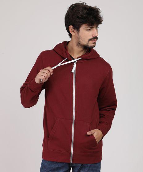Blusao-Masculino-Basico-em-Moletom-com-Capuz-e-Bolso-Vinho-9828993-Vinho_1
