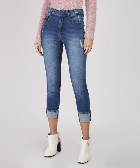 Calca-Jeans-Feminina-Skinny-Cropped-Cintura-Alta-com-Barra-Dobrada-Azul-Escuro-9945403-Azul_Escuro_1