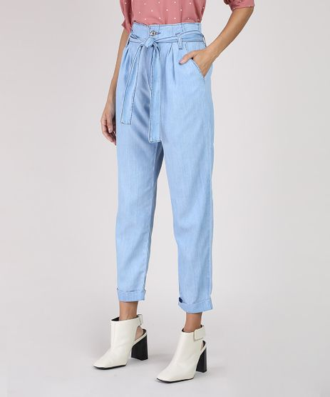 Calca-Jeans-Feminina-Clochard-Cintura-Super-Alta-com-Faixa-para-Amarrar-Azul-Claro-9945402-Azul_Claro_1