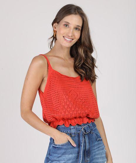 Regata-Feminina-Cropped-em-Croche-com-Babado-Alca-Fina-Decote-Redondo-Laranja-9691943-Laranja_1