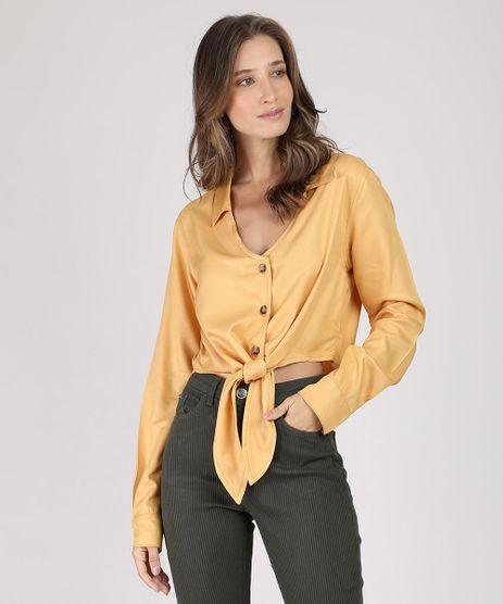 Camisa-Feminina-Cropped-com-No-Manga-Longa-Mostarda-9887385-Mostarda_1
