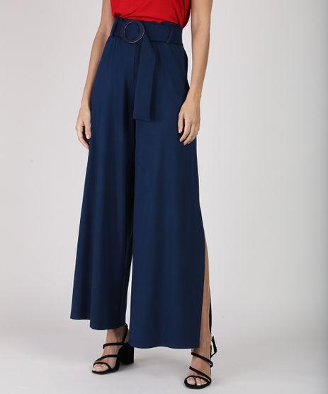 Calca-Feminina-Pantalona-Clochard-Cintura-Super-Alta-com-Fenda-e-Cinto-Azul-Marinho-9941793-Azul_Marinho_1