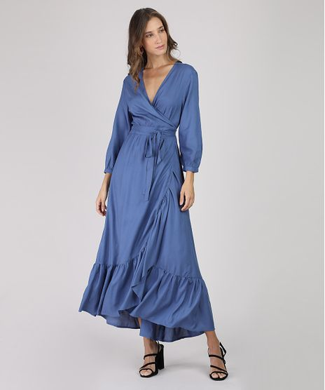 Vestido-Feminino-Longo-Transpassado-Manga-7-8-Azul-9806798-Azul_1