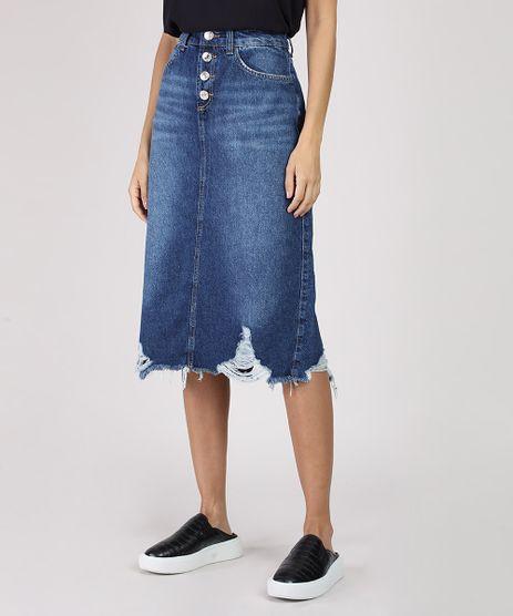 Saia-Jeans-Feminina-Midi-com-Botoes-e-Barra-Destroyed-Azul-Escuro-9932228-Azul_Escuro_1