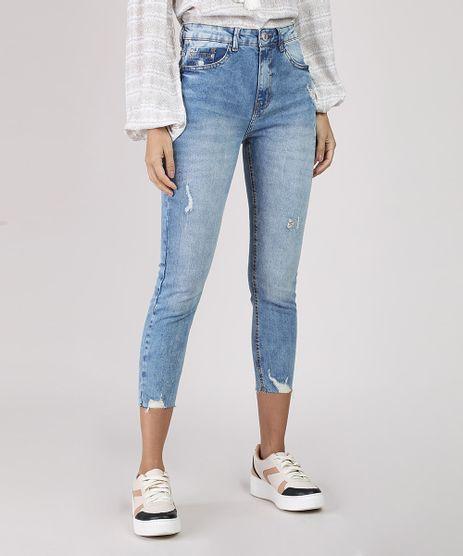 Calca-Jeans-Feminina-Skinny-Cropped-Cintura-Alta-com-Puidos-Azul-Claro-9894067-Azul_Claro_1