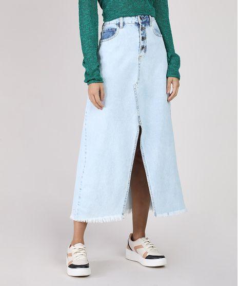 Saia-Jeans-Feminina-Midi-com-Botoes-e-Fenda-Azul-Claro-9932897-Azul_Claro_1