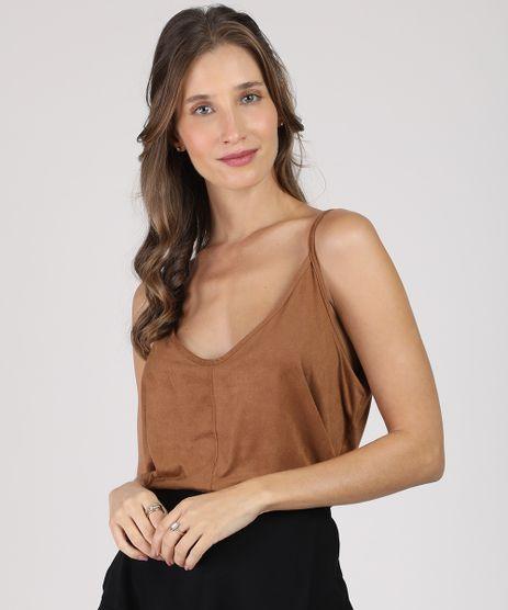 Regata-Feminina-em-Suede-Alca-Fina-Decote-V-Caramelo-9942538-Caramelo_1