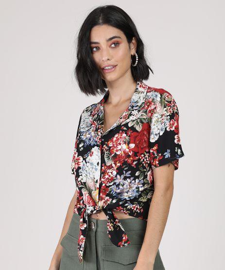Camisa-Feminina-Cropped-Estampada-Floral-com-No-Manga-Curta-Preta-9942574-Preto_1
