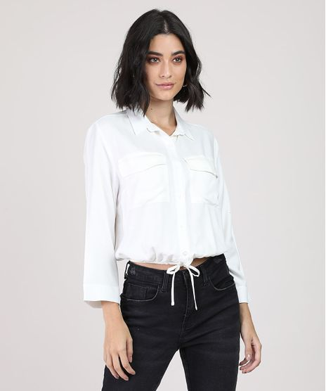 Camisa-Feminina-Bluse-com-Bolsos-Manga-7-8-Branca-9884456-Branco_1