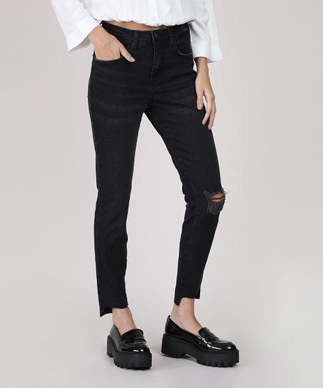 Calca-Jeans-Feminina-Cigarrete-Cintura-Media-com-Rasgo-Preta-9932021-Preto_1