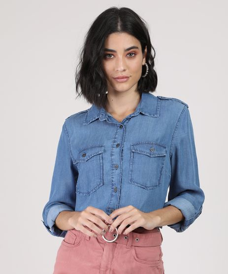 Camisa-Jeans-Feminina-Longa-com-Bolsos-e-Martingale-Manga-Longa-Azul-Medio-9944909-Azul_Medio_1