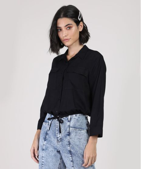 Camisa-Feminina-Bluse-com-Bolsos-Manga-7-8-Preta-9884456-Preto_1