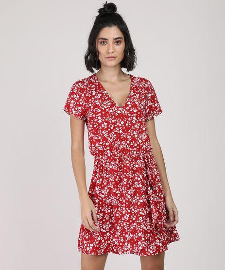 Vestido-Feminino-Curto-Estampado-Floral-Manga-Curta-Vermelho-9877765-Vermelho_1