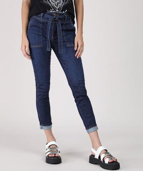 Calca-Jeans-Feminina-Sawary-Cropped-Cintura-Media-com-Faixa-para-Amarrar-Azul-Escuro-9941577-Azul_Escuro_1