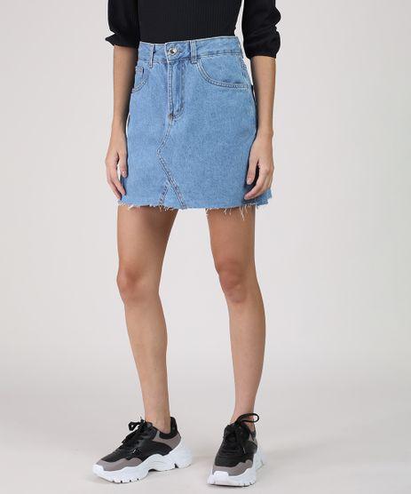 Saia-Jeans-Feminina-Curta-com-Recorte-e-Barra-a-Fio-Azul-Claro-9933828-Azul_Claro_1