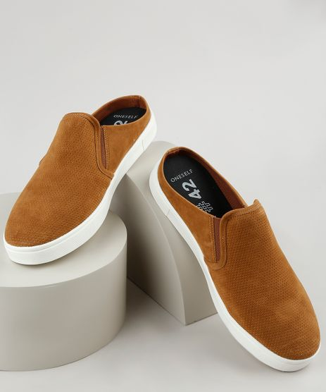 Tenis-Slip-On-Mule-Masculino-Oneself-em-Suede--Caramelo-9939392-Caramelo_1