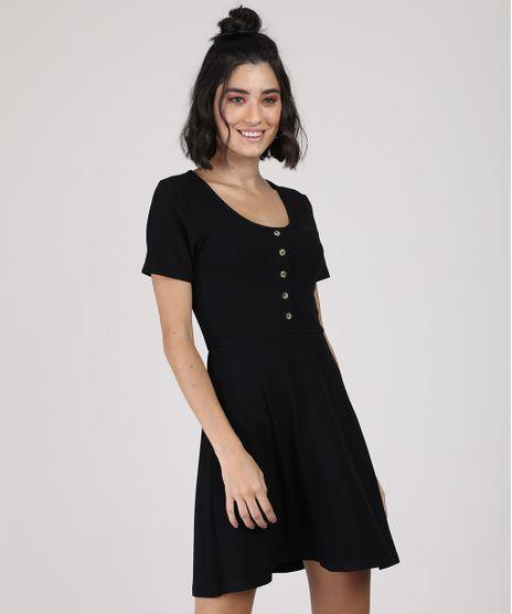 Vestido-Feminino-Curto-Canelado-com-Botoes-Manga-Curta-Preto-9920398-Preto_1