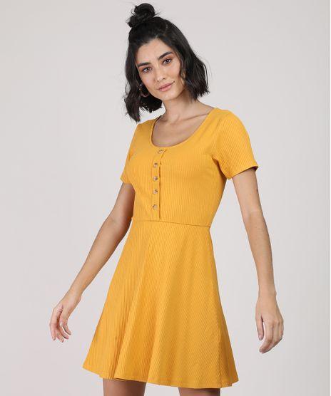 Vestido-Feminino-Curto-Canelado-com-Botoes-Manga-Curta-Mostarda-9920398-Mostarda_1