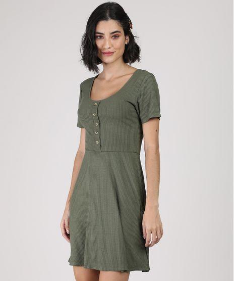 Vestido-Feminino-Curto-Canelado-com-Botoes-Manga-Curta-Verde-Militar-9920398-Verde_Militar_1